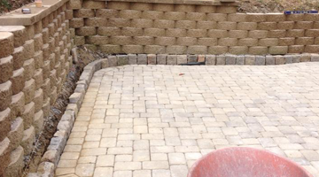 South Shore segmental landscape block wall install